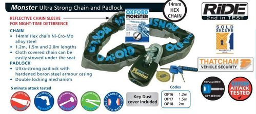 Oxford Monster 1.5m chain and padlock